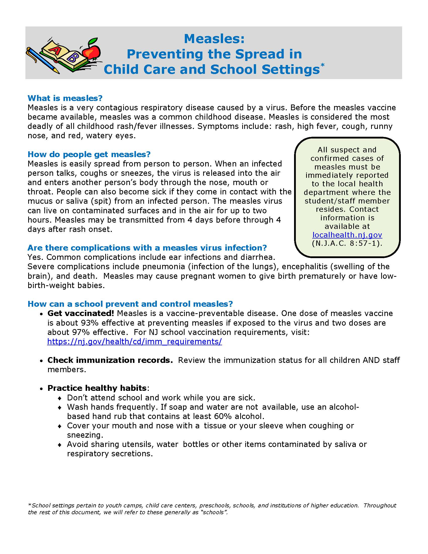 measles guidance schools Page 1